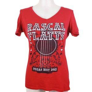 Concert Tee Sz L Rascal Flatts Red Vegas Riot 2015